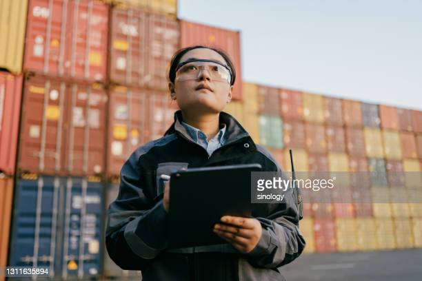 container dockers are inspecting containers - harbour stock pictures, royalty-free photos & images