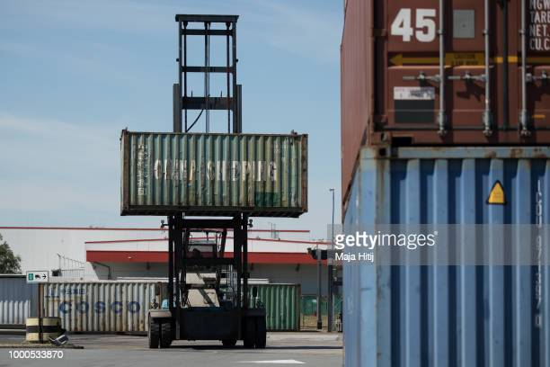Container from China is carried at terminal in the Duisburg port on July 16 2018 in Duisburg Germany Approximately 25 trains a week use the 'Silk...