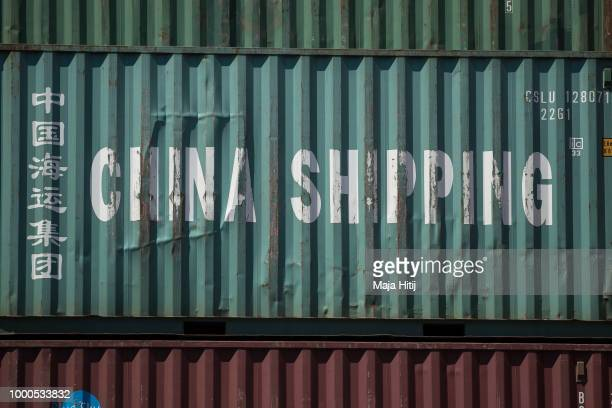 Container from China is seen at terminal in the Duisburg port on July 16 2018 in Duisburg Germany Approximately 25 trains a week use the Silk Road...