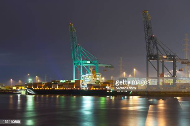 Container Harbor At Night