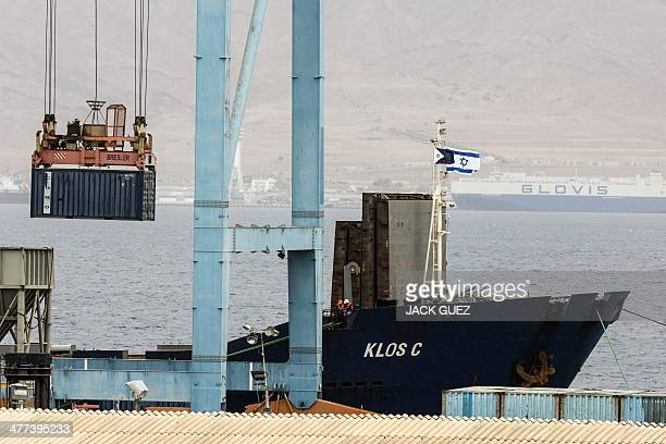 Container is removed from the Panamanian-flagged Klos-C, that was allegedly transporting arm from Iran to Gaza, on March 9, 2014 at the southern...