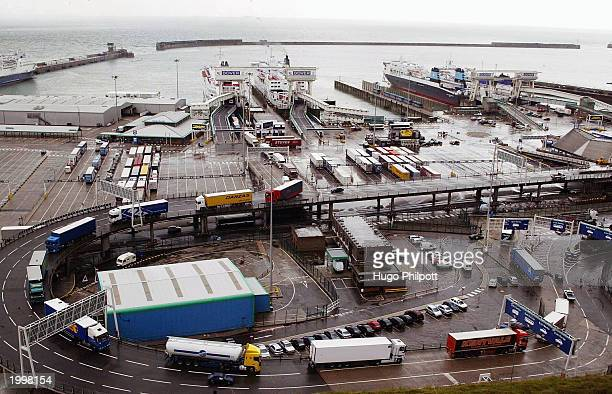 Container lorries from Europe leave the Port of Dover on May 14 2003 in Dover England Her Majesty's customs announced today that security would be...