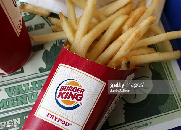 A container of Burger King french fries sit on a tray at a Burger King restaurant August 21 2008 in San Francisco California Burger King the second...