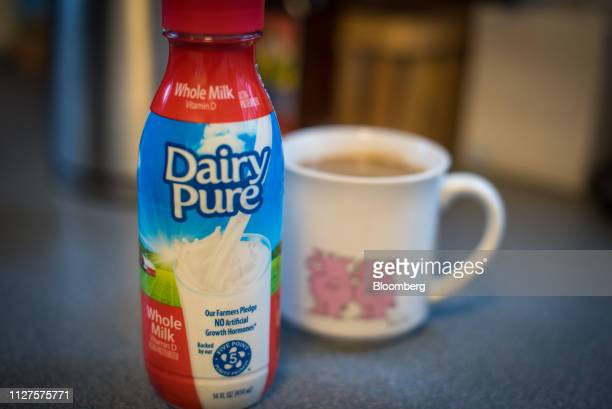 A container of Dean Foods Co Dairy Pure brand whole milk is displayed for a photograph in Dobbs Ferry New York US on Wednesday Feb 20 2019 Dean Foods...