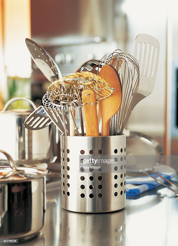 Container Of Kitchen Utensils High Res Stock Photo Getty Images