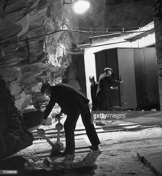 A container of National Gallery art treasures is placed in a storage chamber in Manod Quarry north Wales September 1942 The gallery's art works have...