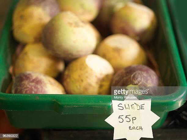 container of swedes for sale - rutabaga stock pictures, royalty-free photos & images