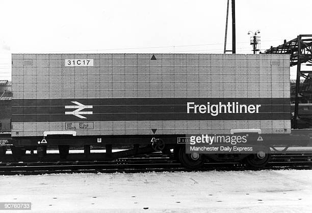 Container on a freight train, part of the new liner service.