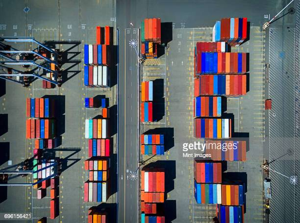 A container park, view from above, at Oakland in California.