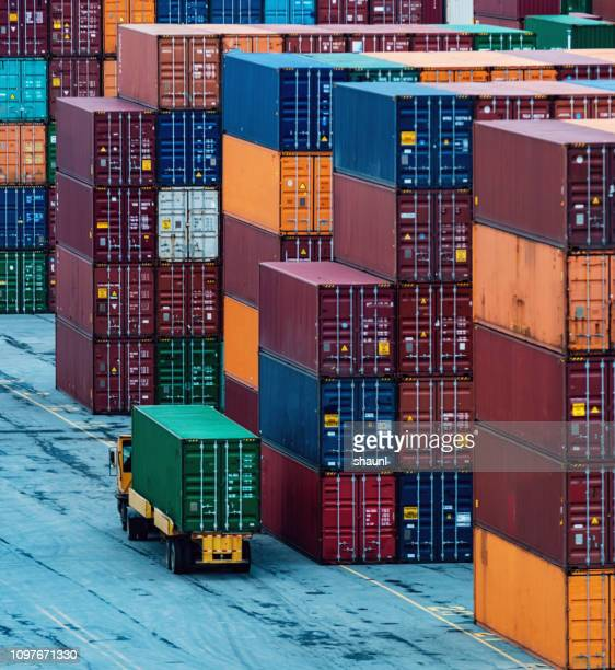container pier - container stock pictures, royalty-free photos & images