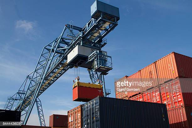 container port, basel, switzerland - basel port stock photos and pictures