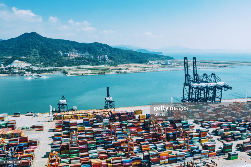 Container port in Shenzhen, China : Stock Photo