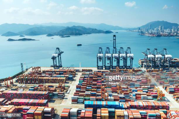 container port in shenzhen, china - shenzhen stock pictures, royalty-free photos & images