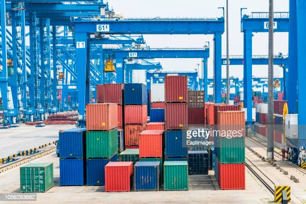 container port in tianjin,china. - tianjin stock pictures, royalty-free photos & images