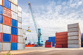 Container port with crane, Rotterdam, Holland