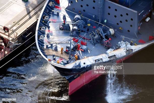 Container ship ACX Crystal is seen at Oi Pier after a collision with USS Fitzgerald off Shimoda on June 17 2017 in Tokyo Japan Seven US Navy crew...