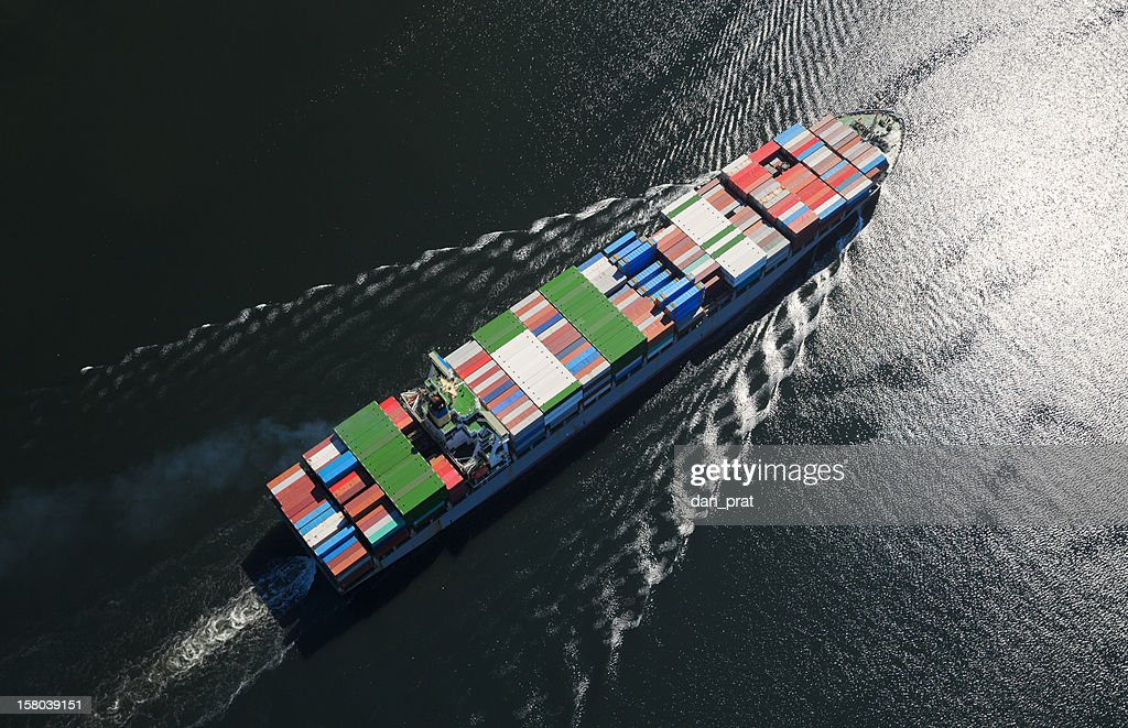 Container Ship Aerial Photo : Stock Photo