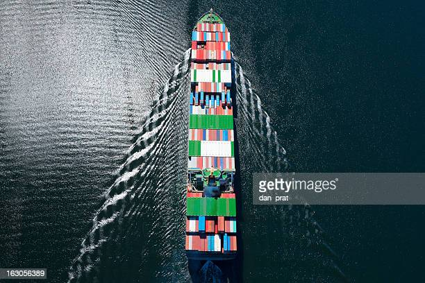 container ship aerial photo - cargo ship stock pictures, royalty-free photos & images