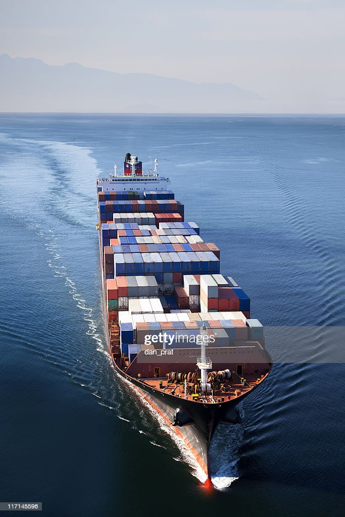 Container Ship Aerial View : Stock Photo
