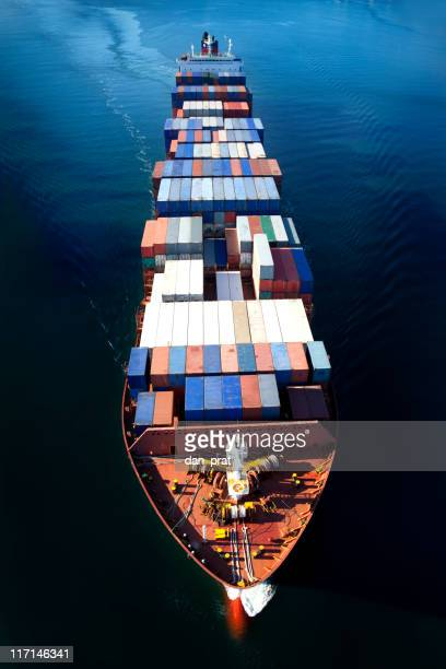 container ship aerial view - industrial ship stock pictures, royalty-free photos & images