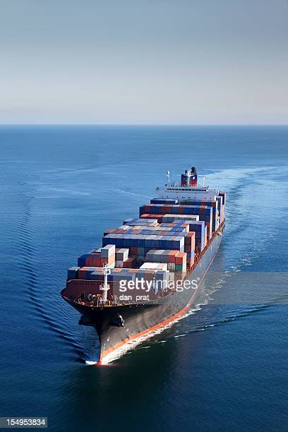 container ship aerial view - cargo ship stock pictures, royalty-free photos & images