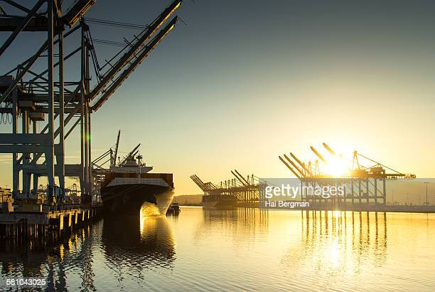 Container Ship and Cranes
