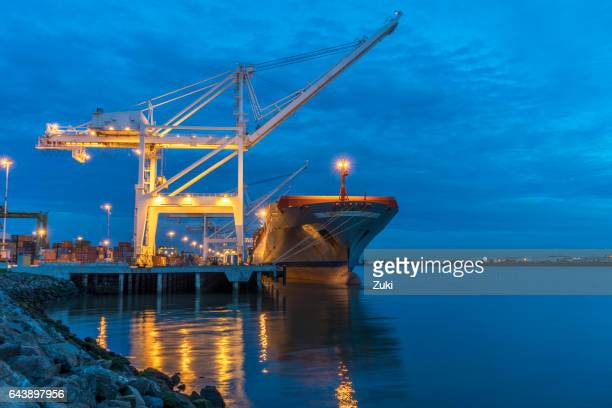 Container ship at light