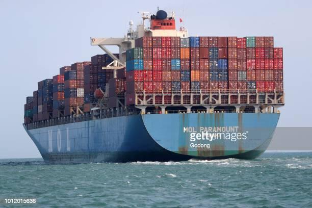 Container ship at South China Sea. Vietnam.