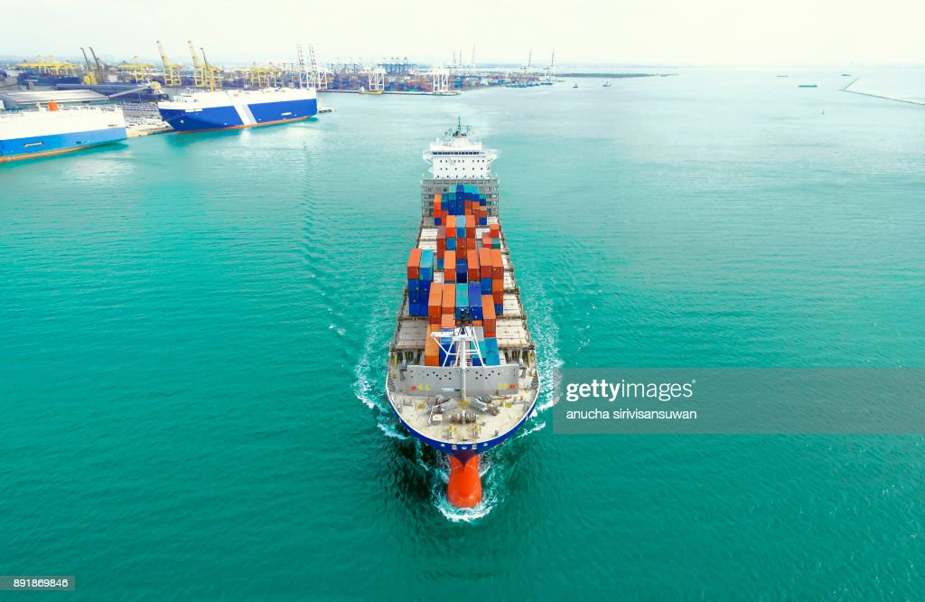 Container Ship Being Shipping Out Of Stock Port By Sea