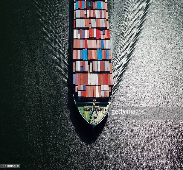 container ship bow - slave ship stock photos and pictures