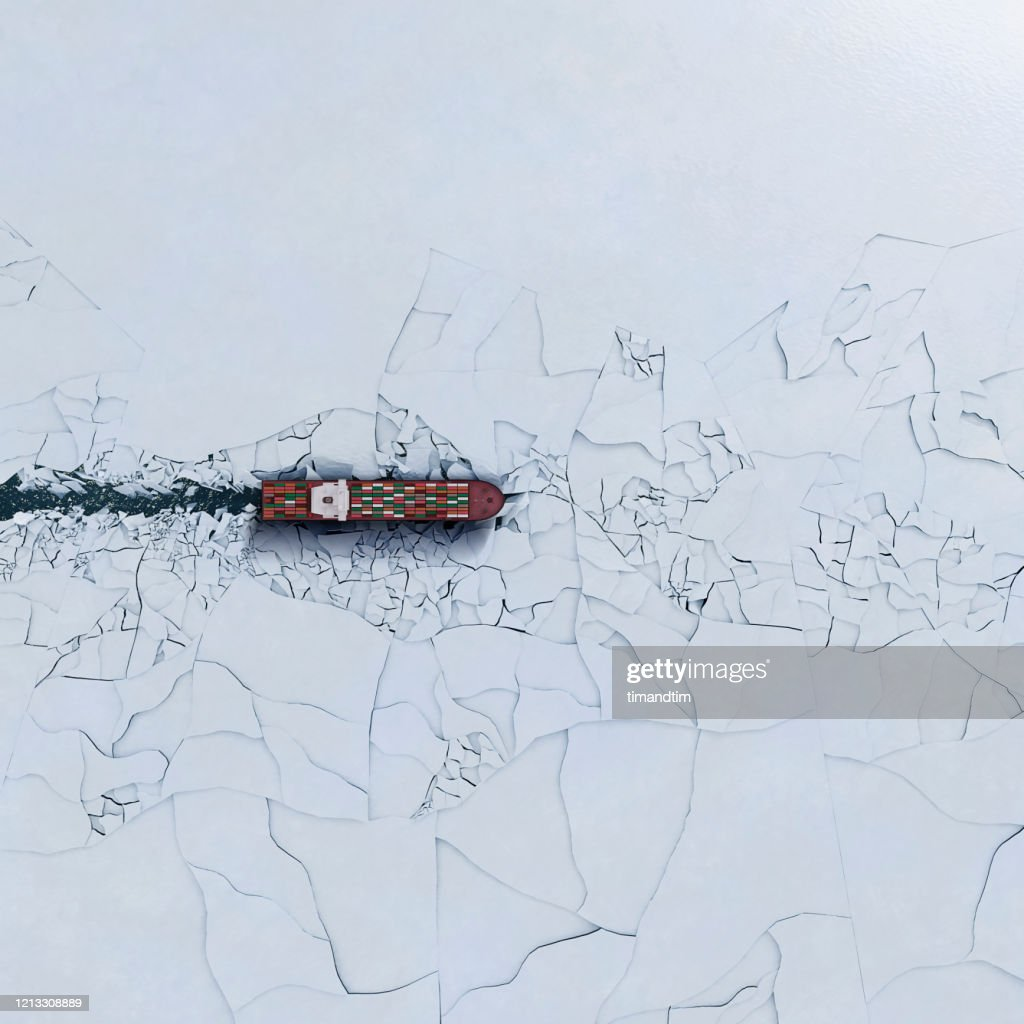 Container ship breaking ice : Foto stock