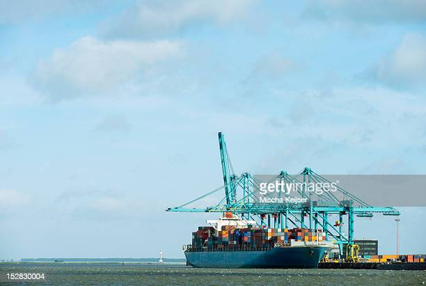 Container ship docked at harbor