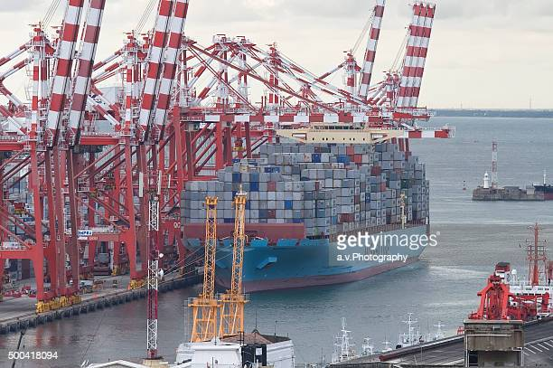 container ship docked in colombo - andre vogelaere stock pictures, royalty-free photos & images