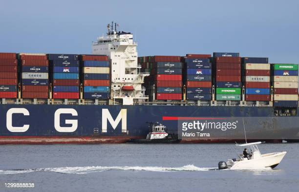 Container ship enters the Port of Los Angeles on February 1, 2021 in San Pedro, California. As of January 28, a record 38 container ships were on...