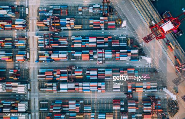 container ship export and import - shipyard stock pictures, royalty-free photos & images