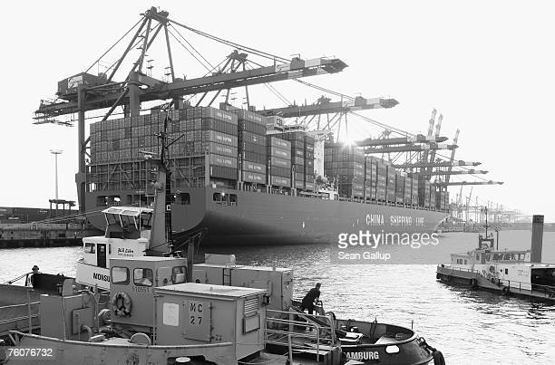 A container ship from China is unloaded at the main container port August 13 2007 in Hamburg Germany Northern Germany with its busy ports of Hamburg...