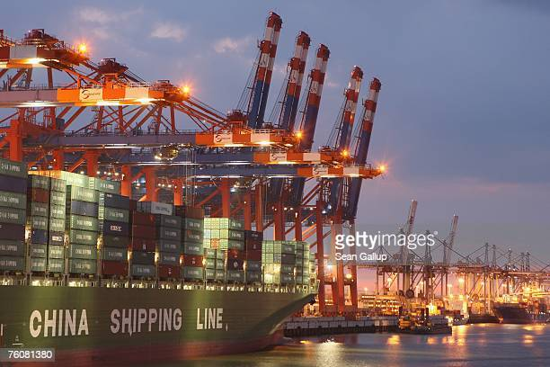 A container ship from China Shipping Line is loaded at the main container port August 13 2007 in Hamburg Germany Northern Germany with its busy ports...