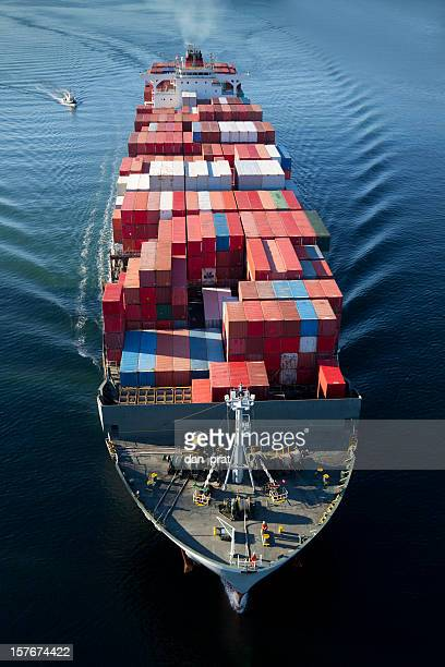 Container Ship Head-on Aerial View