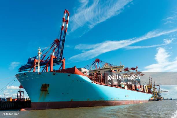 container ship in Bremerhaven harbor