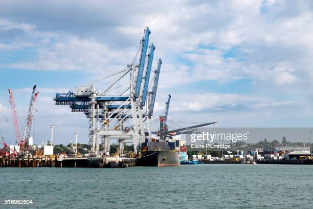 container ship in dock, next to cranes for loading and unloading containers, in auckland, new zealand - docks stock pictures, royalty-free photos & images