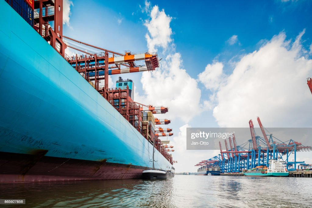 Container ship in Hamburg harbour : Stock Photo
