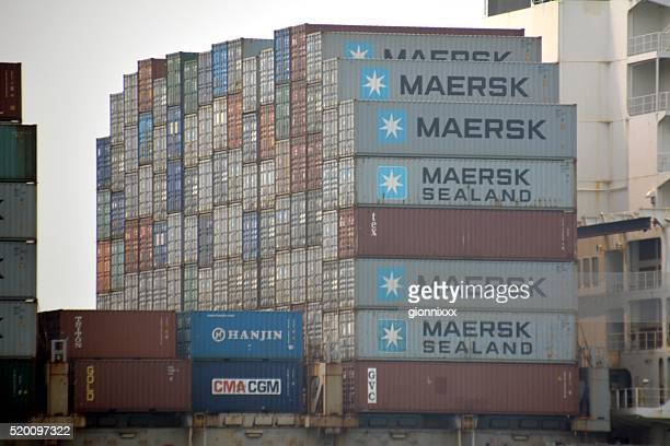 container ship in hong kong - maersk stock pictures, royalty-free photos & images