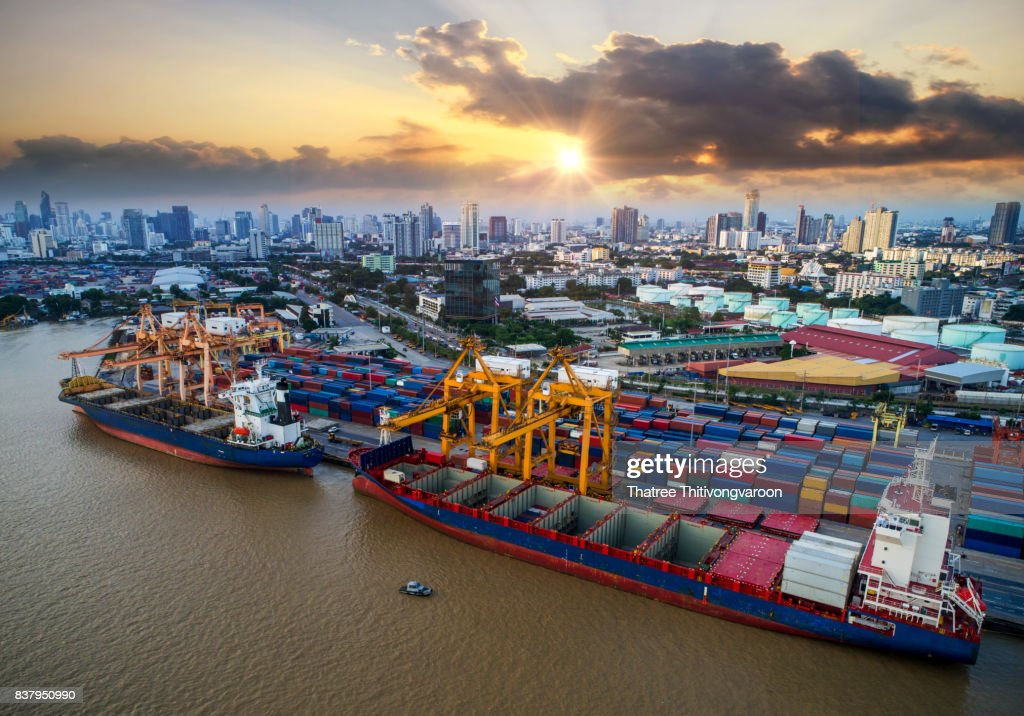 Container Ship In Import Export And Business Logistic By ...