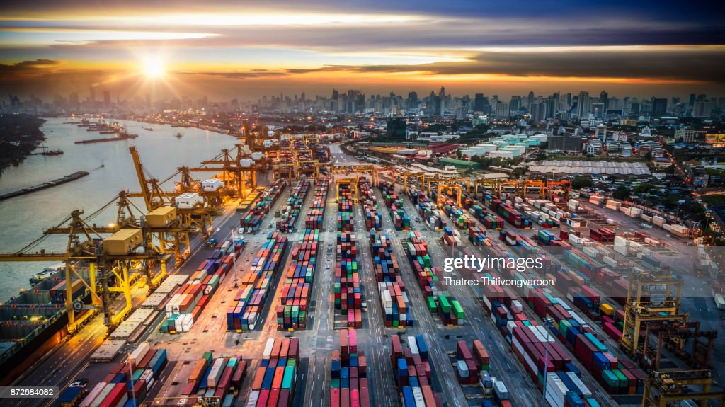 Container ship in import export and business logistic, By crane, Trade Port, Shipping cargo to harbor : Stock Photo