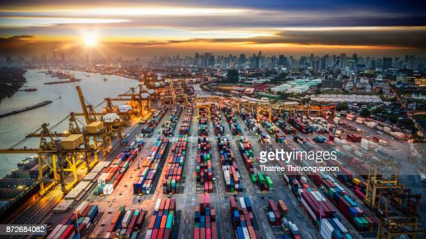 Container ship in import export and business logistic, By crane, Trade Port, Shipping cargo to harbor