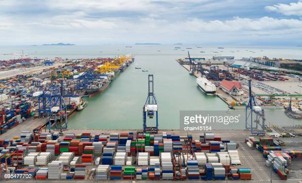 container ship in import export and business logistic port, by crane ,trade port, shipping, cargo to harbor. - rotterdam stock pictures, royalty-free photos & images