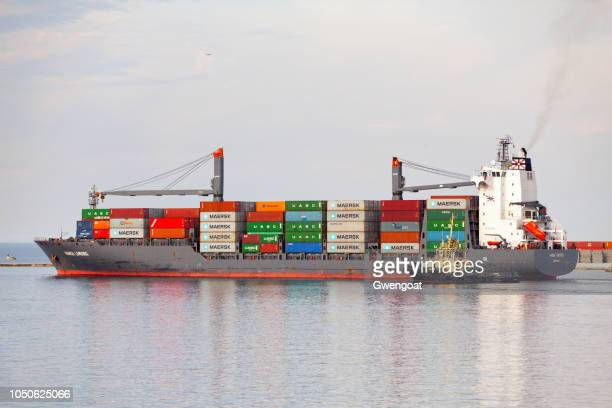 container ship in odessa's port - gwengoat stock pictures, royalty-free photos & images