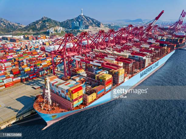 container ship in shanghai port - maersk stock pictures, royalty-free photos & images