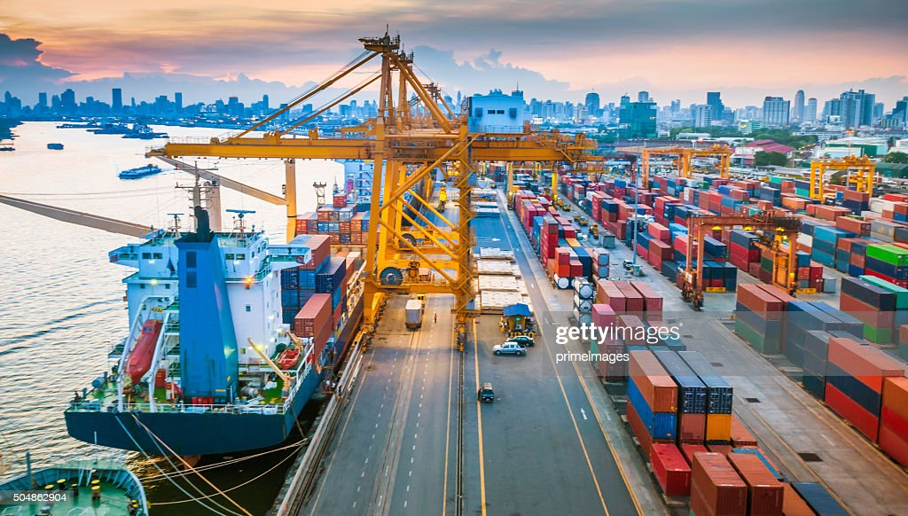 Container ship in the harbor in Asia , : Stock Photo