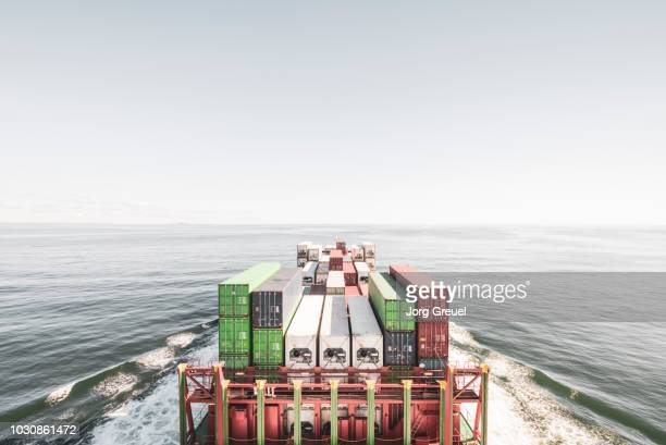container ship in the north sea - schiff stock-fotos und bilder